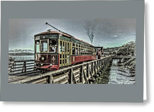 Canvas Wall Art Greeting Cards - Astoria Riverfront Trolley Greeting Card by Thom Zehrfeld