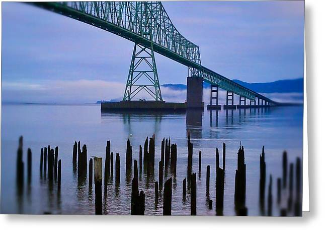 Man-made Greeting Cards - Astoria Sunrise Greeting Card by Darren  White