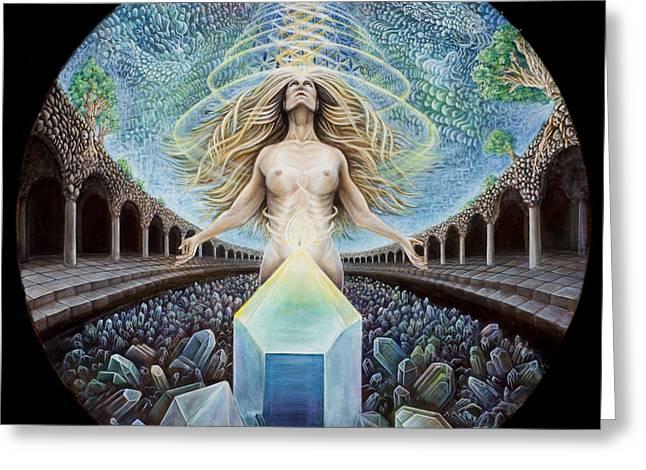 Astral Emergence Greeting Card by Morgan Mandala Manley