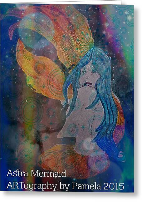 Book Cover Art Drawings Greeting Cards - Astral Mermaid Greeting Card by ARTography by Pamela  Smale Williams