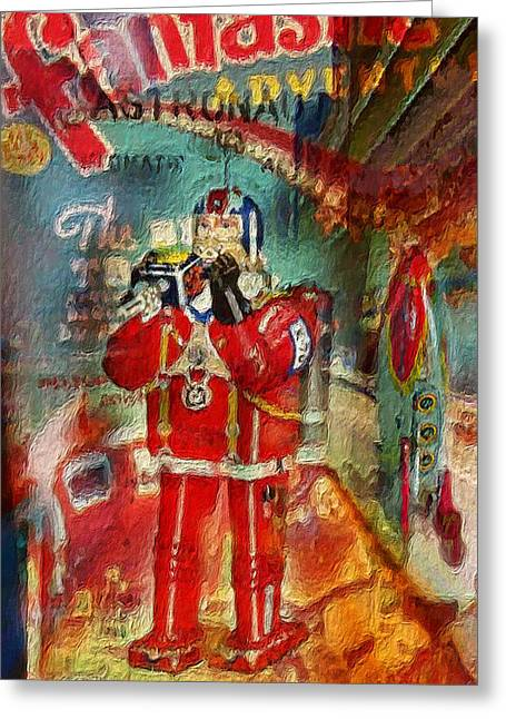 Astronauts Mixed Media Greeting Cards - Astrofantastic Greeting Card by Russell Pierce