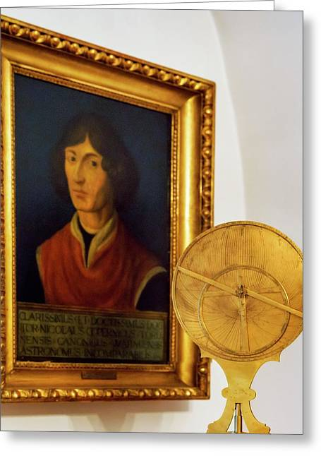 Astrolabe And Portrait Of Copernicus Greeting Card by Babak Tafreshi