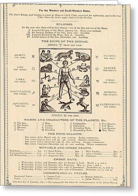 Astrology And The Human Body Greeting Card by Mid-manhattan Picture Collection/new York Public Library