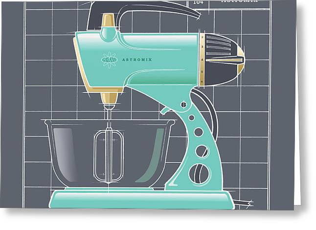 Toaster Drawings Greeting Cards - AstroMix - aqua Greeting Card by Larry Hunter