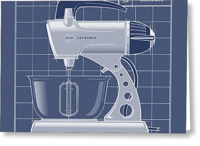 Toaster Drawings Greeting Cards - AstroMix -blueprint Greeting Card by Larry Hunter