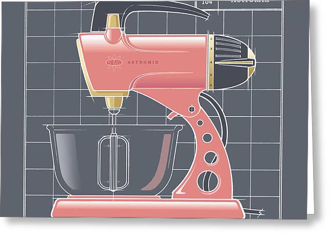 Toaster Drawings Greeting Cards - AstroMix -flamingo Greeting Card by Larry Hunter