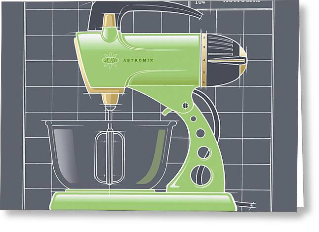 Toaster Drawings Greeting Cards - AstroMix -lime Greeting Card by Larry Hunter