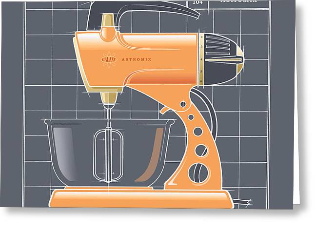Toaster Drawings Greeting Cards - AstroMix -tangerine Greeting Card by Larry Hunter