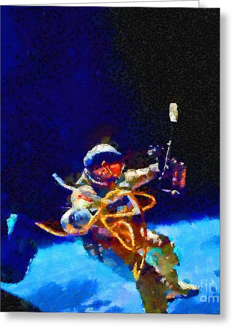 Outer Space Paintings Greeting Cards - Astronaut at spacewalk Greeting Card by Magomed Magomedagaev