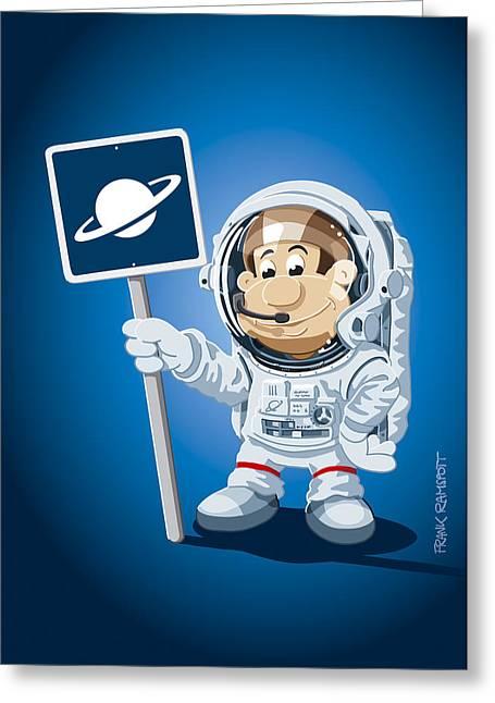 Frank Ramspott Greeting Cards - Astronaut Cartoon Man Greeting Card by Frank Ramspott