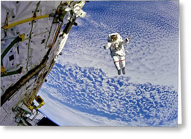 North American Aviation Greeting Cards - Astronaut in Atmosphere Greeting Card by The  Vault - Jennifer Rondinelli Reilly