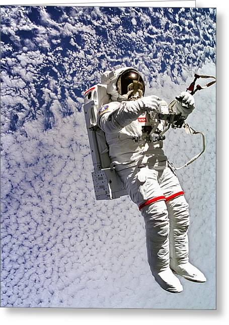 St. Mark Greeting Cards - Astronaut Mark Lee Spacewalk  Greeting Card by The  Vault - Jennifer Rondinelli Reilly