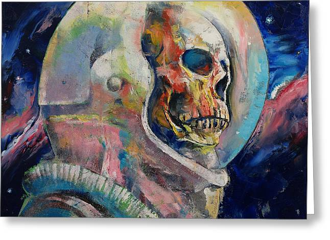 Dark Art Greeting Cards - Astronaut Greeting Card by Michael Creese