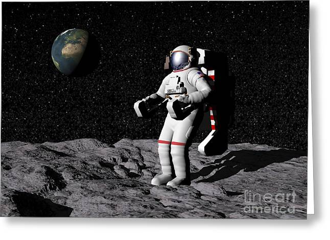 Moonwalk Digital Greeting Cards - Astronaut On Moon With Earth Greeting Card by Elena Duvernay