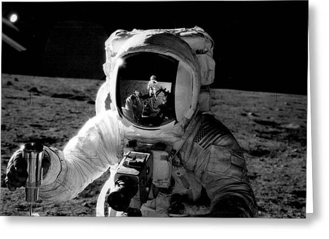 Historical Images Greeting Cards - Astronaut on the moon Greeting Card by Retro Images Archive