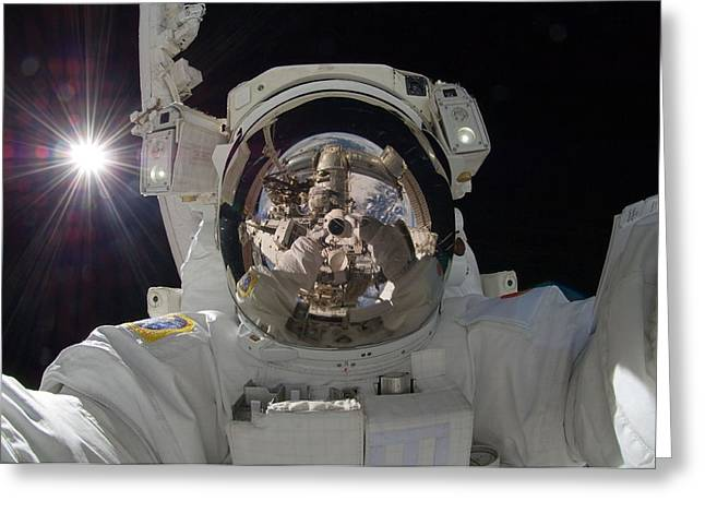 Interstellar Space Photographs Greeting Cards - Astronaut  selfie Greeting Card by Celestial Images