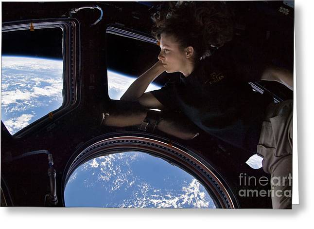 Weightless Greeting Cards - Astronaut Tracy Caldwell Dyson Greeting Card by Science Source