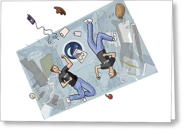 Psychological Background Greeting Cards - Astronauts fighting, artwork Greeting Card by Science Photo Library