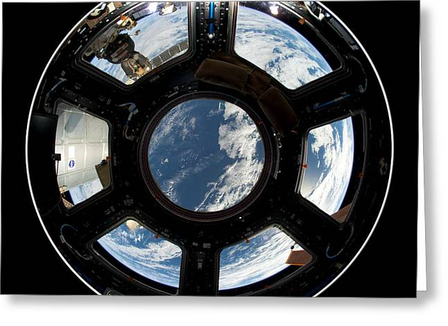 Capsule Greeting Cards - Astronauts view from the Space Station Greeting Card by Rose Santuci-Sofranko