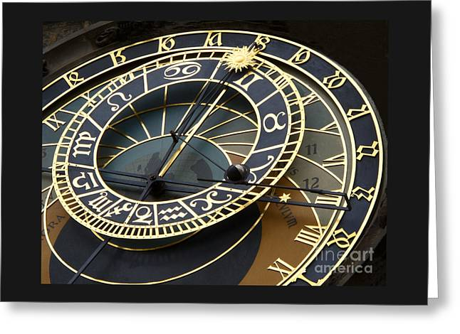 Astronomical Clock Greeting Card by Ann Horn