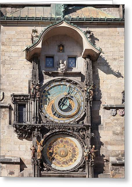 Town Square Greeting Cards - Astronomical Clock At The Old Town Greeting Card by Panoramic Images