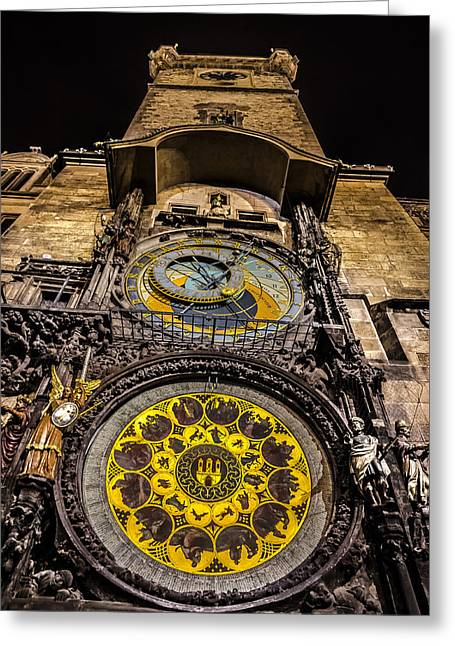 Astronomical Clock Greeting Card by Matthew Gulosh