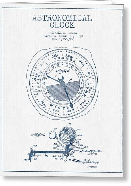 Alarm Greeting Cards - Astronomical Clock patent from 1930  - Blue Ink Greeting Card by Aged Pixel