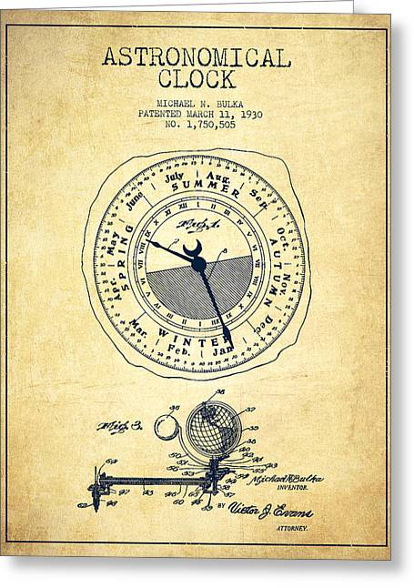 Astronomical Clock Greeting Cards - Astronomical Clock patent from 1930 - Vintage Greeting Card by Aged Pixel