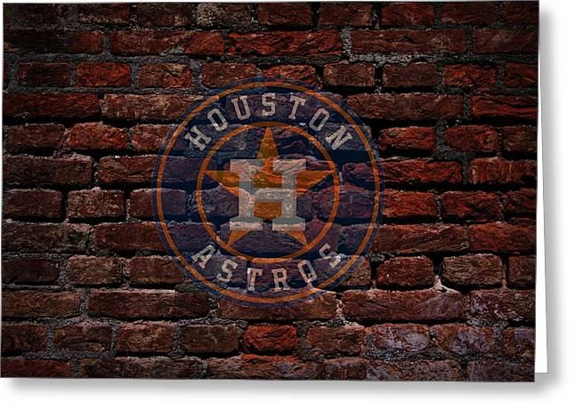 Cabin Wall Greeting Cards - Astros Baseball Graffiti on Brick  Greeting Card by Movie Poster Prints