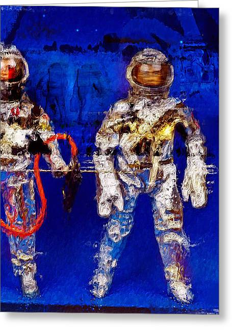 Astronauts Mixed Media Greeting Cards - Astrotwins Greeting Card by Russell Pierce