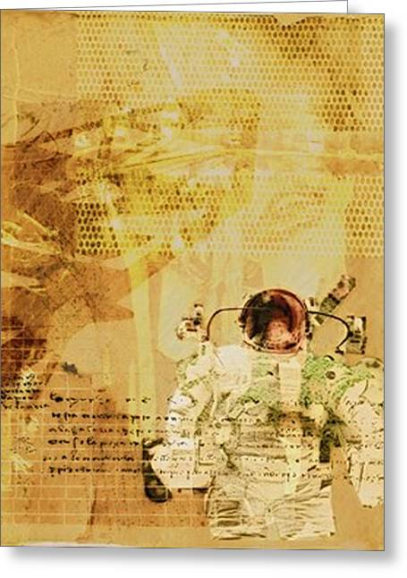 Poster Pyrography Greeting Cards - Astrounaut 1 Greeting Card by Lawrence Hubbs