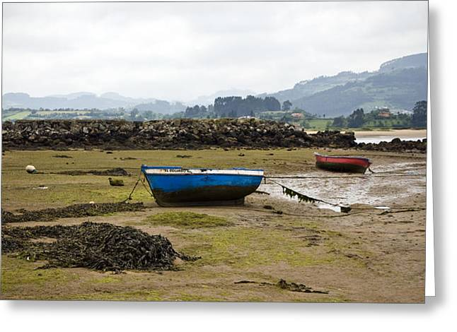 Seascape Images Greeting Cards - Asturias Seascape With Boats Greeting Card by Frank Tschakert