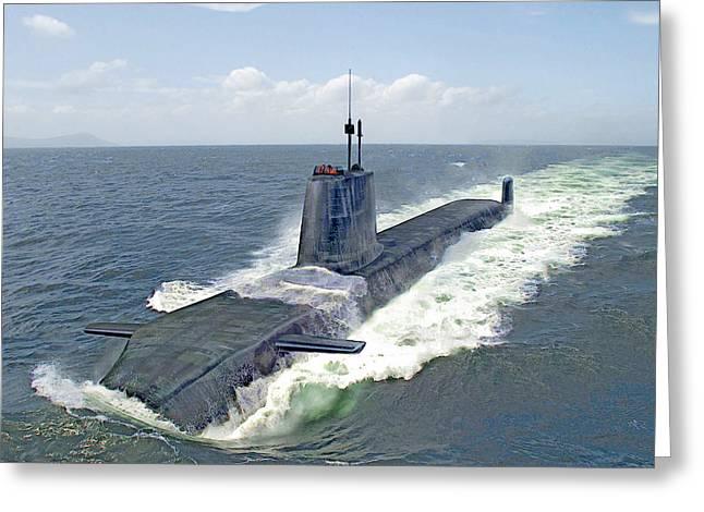 Astute Class Submarine Greeting Card by Herb Paynter