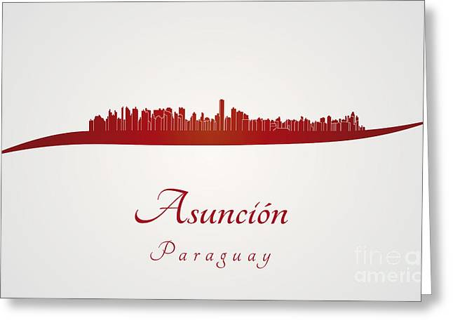 Paraguay Greeting Cards - Asuncion skyline in red Greeting Card by Pablo Romero
