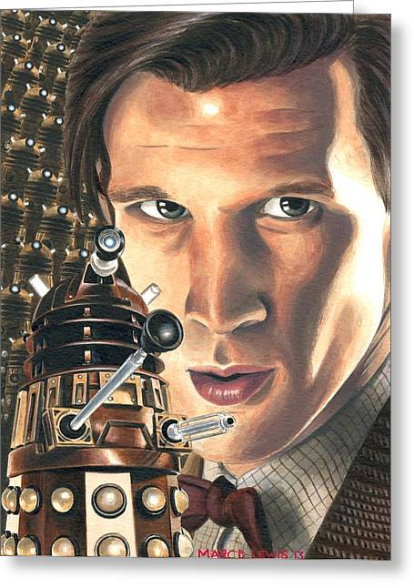 Eleventh Doctor Greeting Cards - Asylum Greeting Card by Marc D Lewis