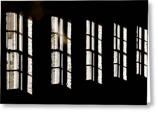 Window Bars Greeting Cards - Asylum Greeting Card by Odd Jeppesen