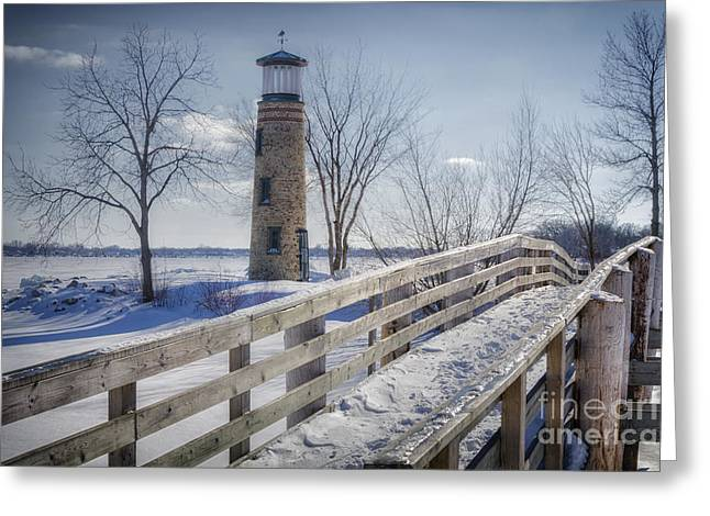 Asylum Greeting Cards - Asylum Point Lighthouse Greeting Card by Joan Carroll