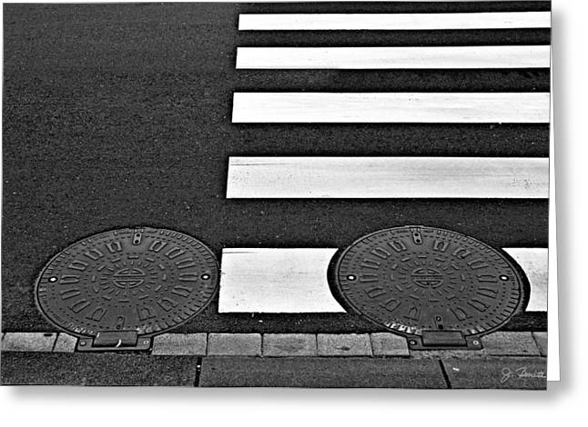 Manhole Greeting Cards - Asymmetric Greeting Card by Joe Bonita