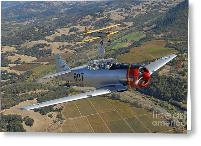 North American Aviation Greeting Cards - At-6 Texan And Stearman Pt-17 Flying Greeting Card by Phil Wallick