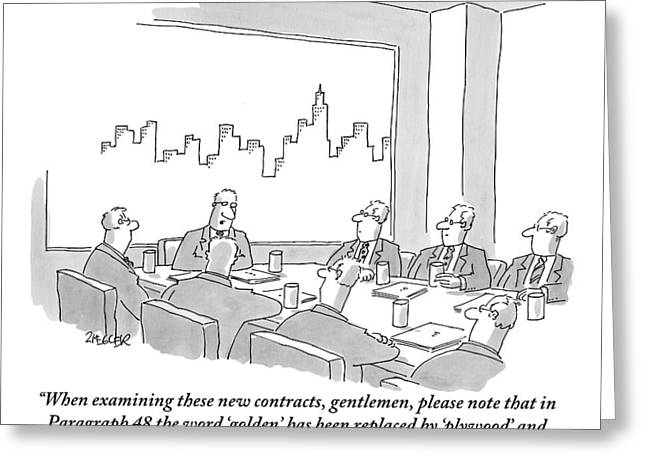 At A Conference Table Greeting Card by Jack Ziegler