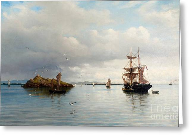 Oslo Paintings Greeting Cards - At Anchor - Calm Sea Greeting Card by Oscar Kleineh