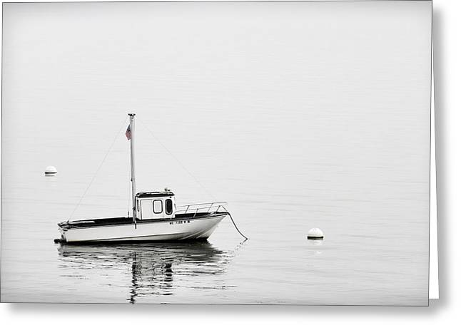 Down East Greeting Cards - At Anchor Bar Harbor Maine Black and White Greeting Card by Carol Leigh