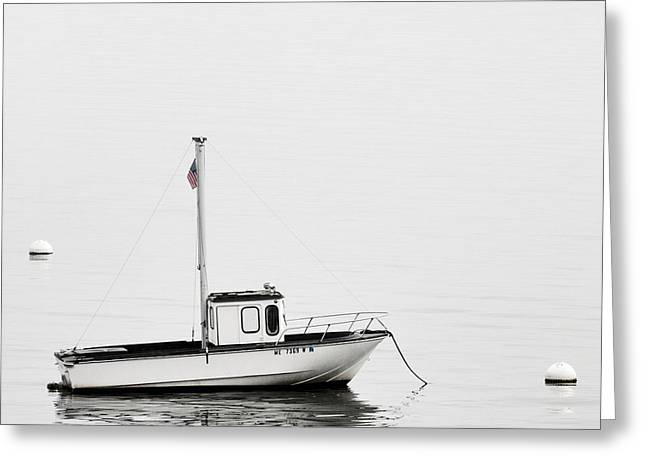 Foggy Ocean Greeting Cards - At Anchor Bar Harbor Maine Black and White Square Greeting Card by Carol Leigh