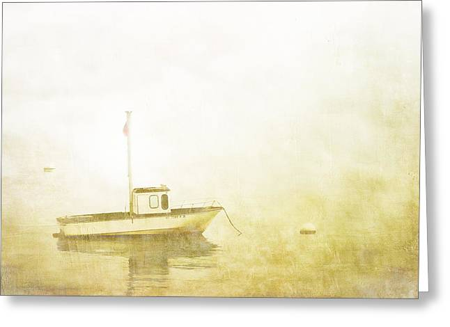 New England Ocean Greeting Cards - At Anchor Bar Harbor Maine Greeting Card by Carol Leigh