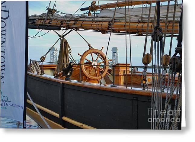 Tall Ships Greeting Cards - Tall Ship At Bay Greeting Card by Bob Sample