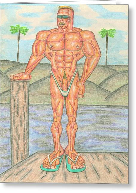 Physique Drawings Greeting Cards - At Bay Greeting Card by Brian Smith