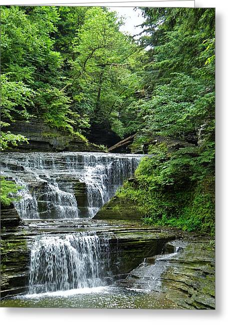 Buttermilk Falls Greeting Cards - At Buttermilk Falls Greeting Card by Anthony Thomas