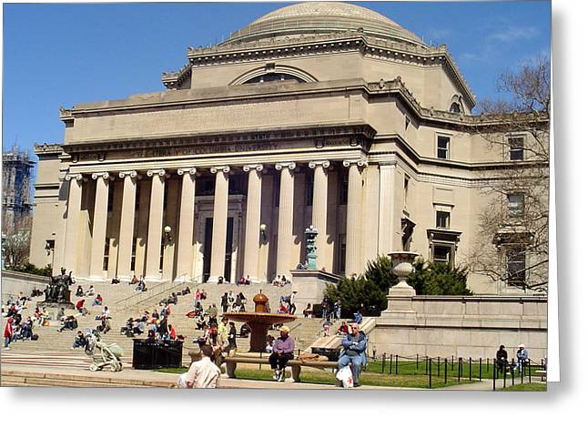 City Art Greeting Cards - At Columbia University Campus Greeting Card by Vadim Levin