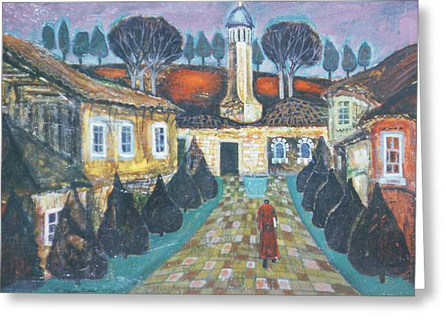 Figures Photographs Greeting Cards - At Dawn, 1975 Oil On Canvas Greeting Card by Radi Nedelchev