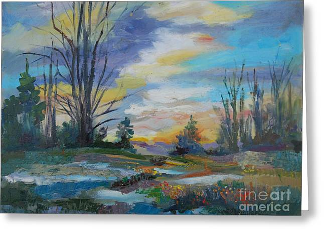 Ladnscape Greeting Cards - At Dusk Greeting Card by John  Reilly